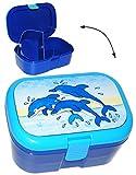 Lunchbox / Brotdose - ' Delfine - Fische ' - mit extra Einsatz / herausnehmbaren Fach - Brotbüchse Küche Essen - für Mädchen & Jungen - Delfin - Fisch / Unterwasser - Kinder Vesperdose - Brotzeitdose / Fächer / Trennwand - Fächern - Brotzeitbox - Brotzeit Tasche - Vesperbrotdose