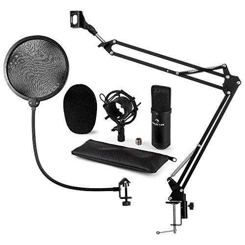 auna CM001B Set per Microfono V4 Set Microfono XLR A Condensatore Staffa Ragno Con Braccio Mobile Filtro POP Sgancio Rapido Plug & Play Windows e Mac Custodia nero