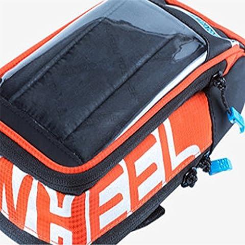 bolsa de la bicicleta manillar moto Ciclismo cesta Imperméable Bettertol con Caso del tacto de la pantalla del teléfono del PVC(5.7 pulgadas)(naranja)