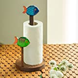 ExclusiveLane Wooden Kitchen Tissue Roll Dispenser Cum Dining Table Top Napkin Holder With Fishes- Multicolour