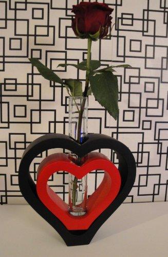 Design Deko-Vase, Herz in Herz, schwarz und rot, Holz mit Glaseinsatz, Mangoholz (Herz Rot Vase Glas)