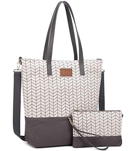 Myhozee Damen Handtasche Canvas Schultertasche Casual Tasche Handtaschen Shopper Shopping Bag Henkeltaschen Umhängetasche Elegant Tasche für Alltag Büro Schule Ausflug Einkauf, Gray