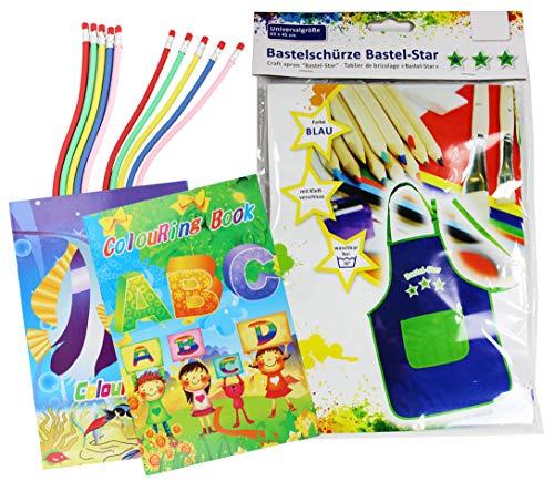 com-four® Kinder Bastelschürze mit Klettverschluss aus Baumwolle + 10 Zauber Bleistifte und Malbuch