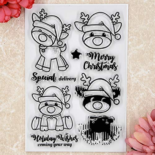 Kwan Crafts Merry Christmas Hirsch Special Delivery Holiday Clear Stamps for Card Making Decoration and DIY Scrapbooking