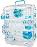 Cage en plastique rigide pour hamster avec abri, abreuvoir, mangeoire et roue