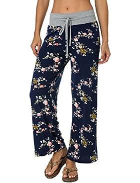 Auxo Mujer Pantalones Anchos Acampanado con Impresiones Florales Casual Palazzo con Tallas Grandes