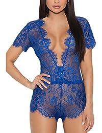 6b586149f27e9 Anglewolf Women s Sexy Lace Lingerie Eyelash Lace Sheer Mesh Bodysuit  Leotard Lingerie Top Underwear Ladies Solid