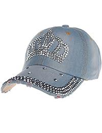 Gorras Hombre Gorra de Béisbol Hip Hop Full Diamond Crown Flat Snapback Hat Beisbol Lanskirt