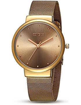 Time100 Vatertag Armbanduhr Herrenuhr Quarzuhr Anlaloguhr Edelstahl Gold #W50199G.02A