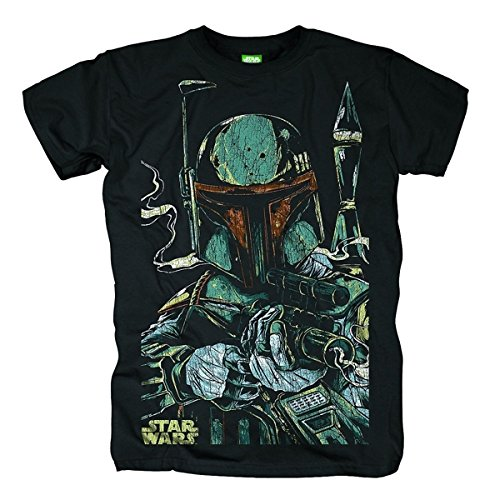 Bravado Herren T-Shirt Star Wars - Boba Fett Sketch, Gr. Small, Schwarz (Schwarz 001)