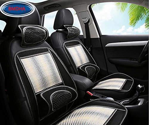 Bmdha coprisedili per auto estivi cuscino del sedile auto seta di bambù antisudore cuscino traspirante confortevole massaggio vertebra cervicale (2 pezzi),white