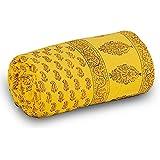 Little India Rajasthani Designer Paisley Cotton Single Bed Comforter - Yellow