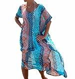 Landove Copricostume Mare Donna Vestito Lungo Estate Boho Hippie Kaftan Tunica Kimono Abito da Spiaggia per Costumi da Bagno Bikini Cover