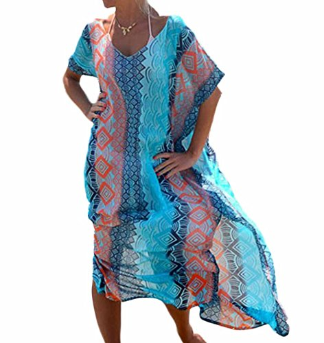 Landove Femme Robe de Plage Longue Grande Taille Kimono Ete Imprime Chemise Mousseline de Soie Maillot de Bain Bikini Couverture Bohême Cover up Sarong