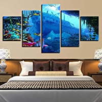 VCTQR 5 consecutive paintingsCanvas Painting HD Print Home Decor 5 Sea Landscape Wall Art Modular Living Room Bedroom Picture Art Poster