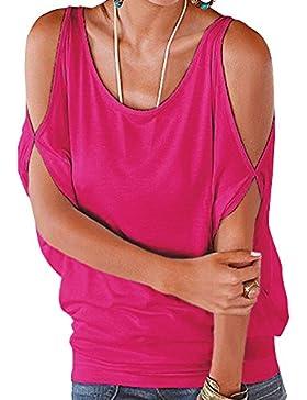 DianShao Camisas de Hombro Frío Blusas Tops del Batwing Camisetas Sin Mangas Camiseta Casual Camiseta Para Mujer