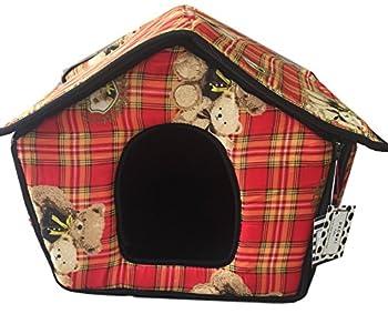 Ducomi® dogbnb?Maison souple en tissu pour chiens et chats?Niche pliable pour chien et chat en forme de maison