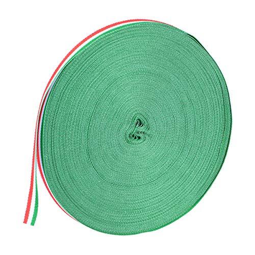 SUPVOX 2.5CM Geschenke, die Polyester-Streifen-Band für Kostüm-Beutel-Partei-Hochzeits-Versorgungsmaterialien (rotes Weiß und Grün) 100M / Roll einwickeln