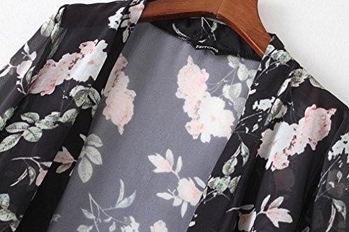 FEITONG Frauen Sommer Chiffon Strand Lose Schals Kimono Strickjacke Tops Cover up Schwarz