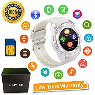 Smart Watches Bluetooth Smart watch SN08 Unlocked Watch Phone Fitness tracker with SIM Card Slot Touch Screen Camera for Android Phones Samsung Huawei LG Xiaomi Sony IOS iPhone Men Women Kids (White)