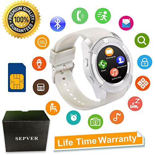 SEPVER Smartwatch Reloj Inteligente Smart Watch con Cámara Soporte de Pantalla Táctil Tarjeta SIM Compatible con Samsung Sony HTC Huawei Xiaomi teléfono Android para Hombre Mujer Niños (Blanco)