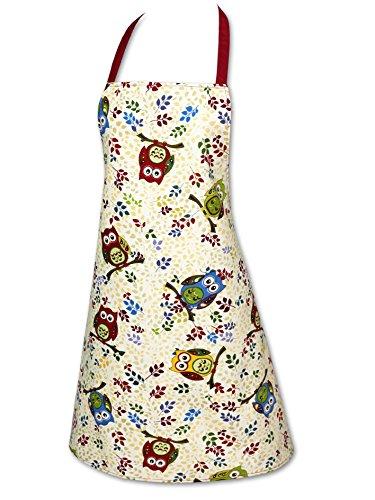"""Kamaka guanti da forno della serie da cucina """"gufi divertiti"""", presina o guanti da forno, gufi colorati, alta qualità, di cotone, ottima idea regalo per tutti i fan dei gufi, tessuto, bunt, 1 x schürze"""