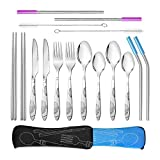AckMond Camping Outdoor Utensils Cutlery Set of Military Grade Stainless Steel Fork, Spoon