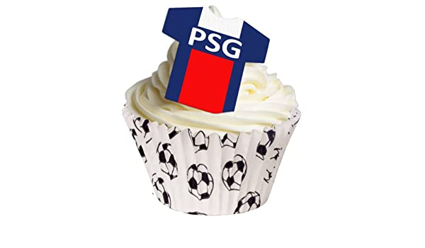 12 X Sugar Free Cake Decorations Paris Saint Germain Fc Football Shirt Wafer Toppers Amazon Co Uk Grocery