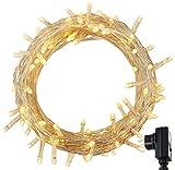 RPGT 500 Blanco Cálido LED luz cadenas ligeras de hadas para Navidad fiestas de boda de jardín Decoración del árbol con función de memoria, cable de color Transparente