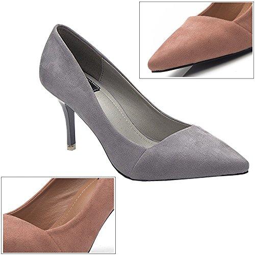 BOZEVON Donna Classic Tacco Alto Festa Scarpe de Moda High Heels bello Tacchi a Spillo - 8CM, nero grigio-8CM