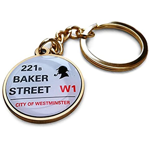 Portachiavi Sherlock Holmes. 221b di Baker Street. tono oro