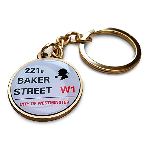 Preisvergleich Produktbild Sherlock Holmes 221B Baker Street Gold Ton SchlŸsselring / fob