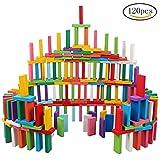 siming 120pcs colorido juego de dominó de madera, bloques de construcción juegos educativos de carreras de juguete Juego Para Los Niños Niños Adultos