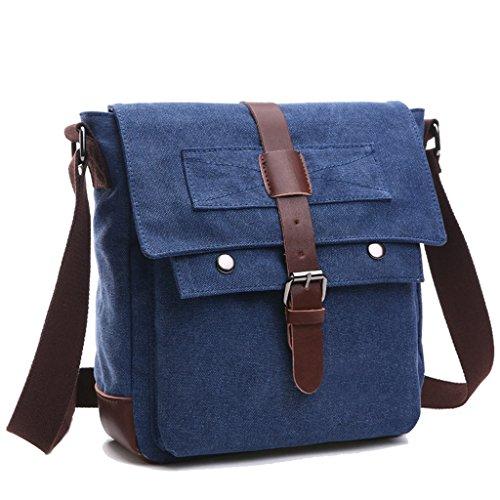 Super moderno Vintage Borsa a tracolla borsa di tela militare tempo libero viaggio borsa crossbody borsa a tracolla Blue