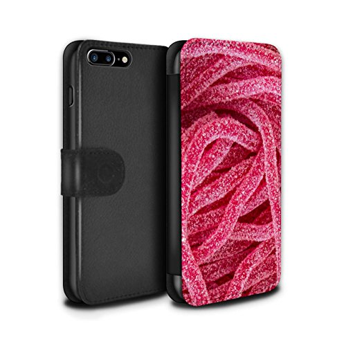 Stuff4 Coque/Etui/Housse Cuir PU Case/Cover pour Apple iPhone 8 Plus / Berlingots Design / Confiserie Collection Gazeuses Lacets Fraises