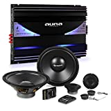 auna CS-Comp-10 Set Impianto Audio Macchina Car Hifi 6400 Watt (Amplificatore 6 Canali, Crossover, 2 Subwoofer, 4 Casse Altoparlanti)