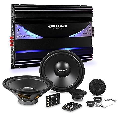 auna CS-Comp-10 Car-Hifi-Set Lautsprecher-Set + 6-Kanal-Endstufe (2 x 1600 Watt Subwoofer, 2 x 1600 Watt Mitteltöner, inkl. Kabelage und Montagematerial) schwarz