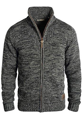 Baumwoll-strickjacke (SOLID Herren Pomeroy Strickjacke Cardigan mit Stehkragen aus 100% Baumwolle, Größe:M, Farbe:Black (9000))