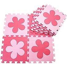 10 pcs Esterillas de juegos para niños Colchonetas de espuma para bebé Baby Crawling Mat Esteras Del Rompecabezas para Arrastrar y Estudiar a Caminar Alfombrillas de espuma para caminar a los niños 30cm * 30cm * 1cm cada pieza (flor, rojo + rosado)