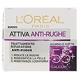 L'Oréal Paris Attiva Antirughe 55+ Crema Viso Donna Antirughe Riparatrice Giorno e Notte con Calcium, 50 ml