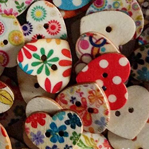 Preisvergleich Produktbild Masterein 100pcs 2 Löcher Bakelite Knöpfe Nähen Herz-geformte Bunte Malerei Buttons