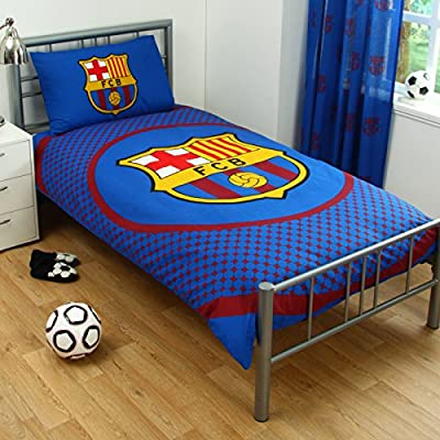 Barcelona Fc Bullseye Single Duvet Set Quilt Cover Crest Logo Football Bedding