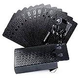 joyoldelf Cool Black Foil Carte da gioco Poker, mazzo di carte impermeabile con confezione regalo, uso per feste e giochi