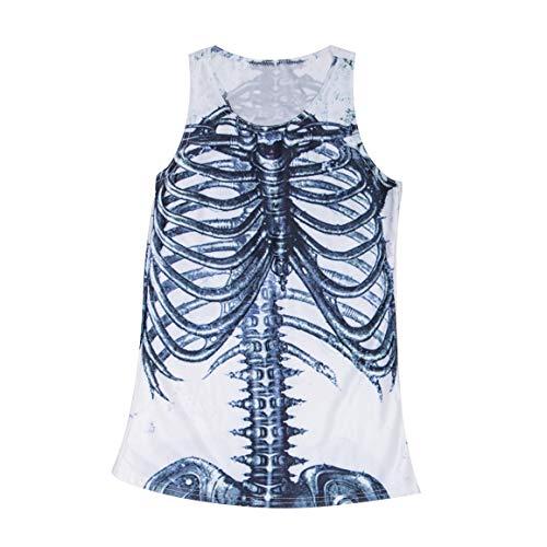 Para Única Pijamas Club Wear Trajecito Tanque Inversa 10 3d 8 Lencería Homeking Superior Cruzerlite Talla 12 Mujer Blanco Esqueleto CtdQshrx