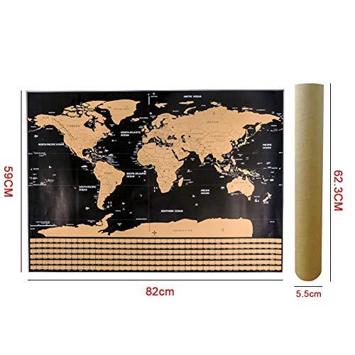 Leezo - Póster mapa mundo rascar banderas campo L