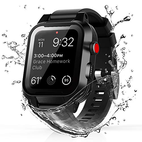 TENCOU IP68 Waterproof Case for 42mm Apple Watch Series 3 & 2 with Strap,Heavy Duty Shockproof Impact Resistant iWatch Sealed Case with Premium Soft Silicone Band
