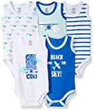 Luvable Friends Baby 5-Pack Lightweight Sleeveless Bodysuits, Airplanes, 3-6 Months