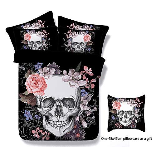 Onlyway Juego de cama de con diseño de calavera con flores, Esqueleto de Halloween, funda de edredón y dos fundas de almohada, con impresión 3D,