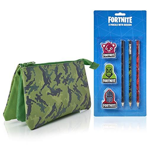 Fortnite Estuche Escolar 3 Lápices y 3 Gomas de Borrar | Estuche Gran