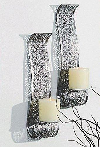 Dekorative Wandkerzenhalter für Stumpenkerzen 2er Set aus Metall für Stumpenkerzen Silber